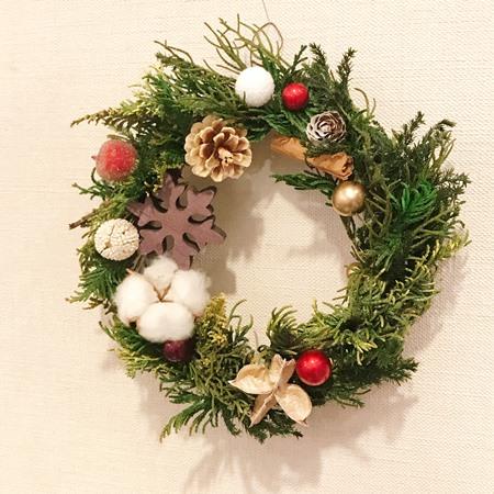 クリスマスレッスン フラワーアレンジメント