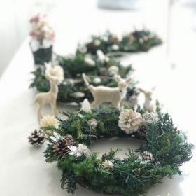 クリスマスリース レッスン プリザーブドフラワー 足立区 ララブーケ