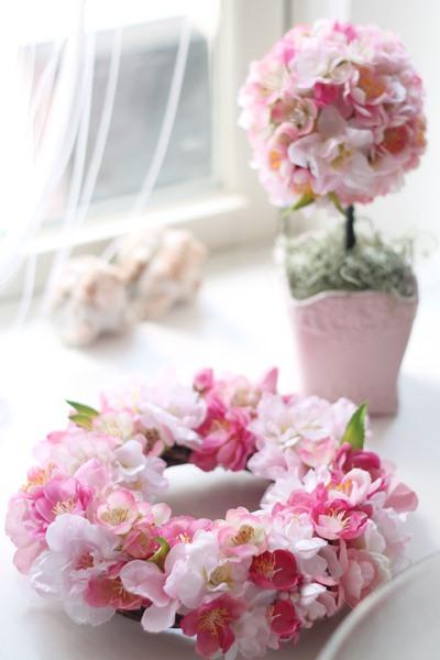 桜リース トピアリー フラワーアレンジメント教室 ララブーケ